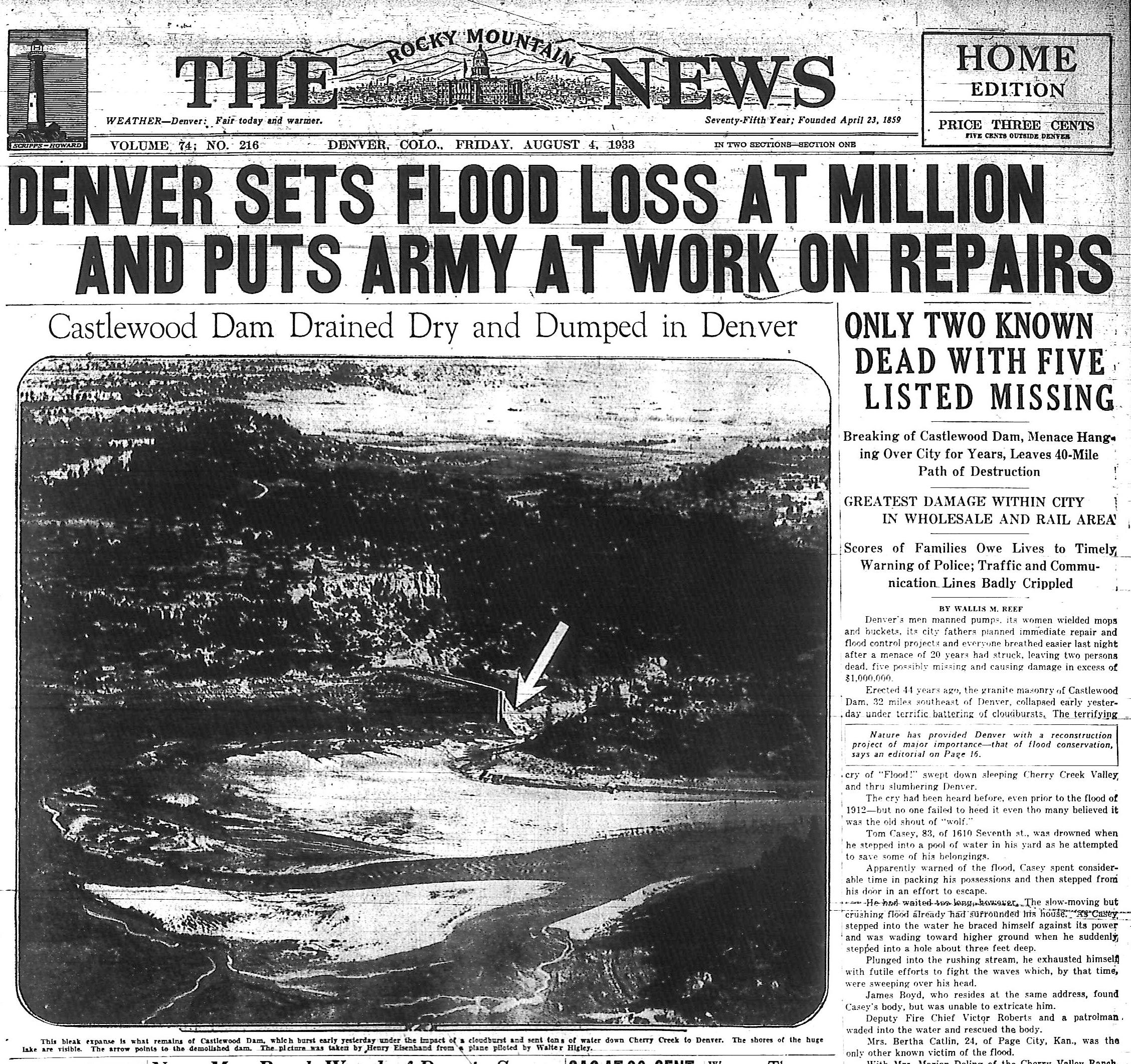 August 3, 1933: Castlewood Dam Breaks, Floods Denver