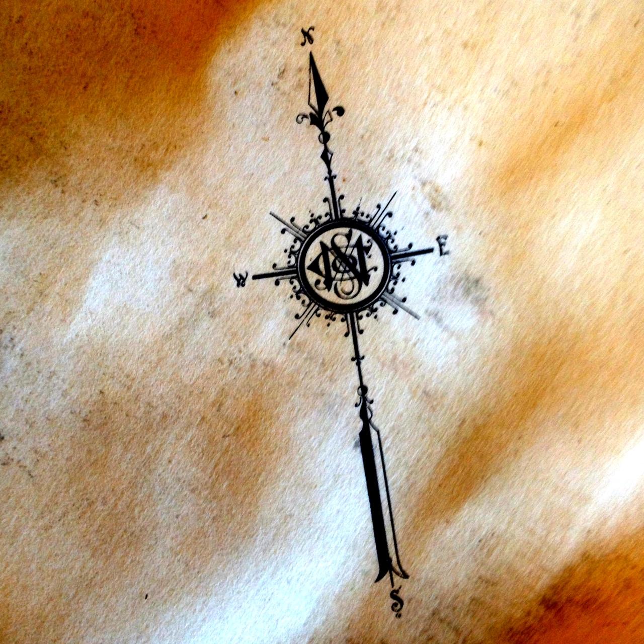 Antique Compass Rose Tattoo